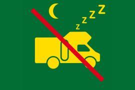 Pictogramme indiquant l'interdiction de dormir dans un camping-car